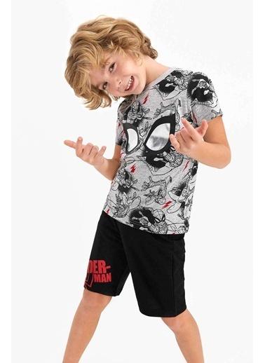 Spider-Man Spider Man Lisanslı Colbalt Mavi Erkek Çocuk Bermuda Takım Gri
